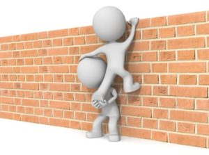 The dude 3D character x2 climbing Brick wall.